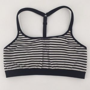 Athleta Black White Striped Sports Bra Size XL